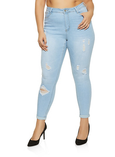 Plus Size WAX Solid Distressed Jeans,LIGHT WASH,large