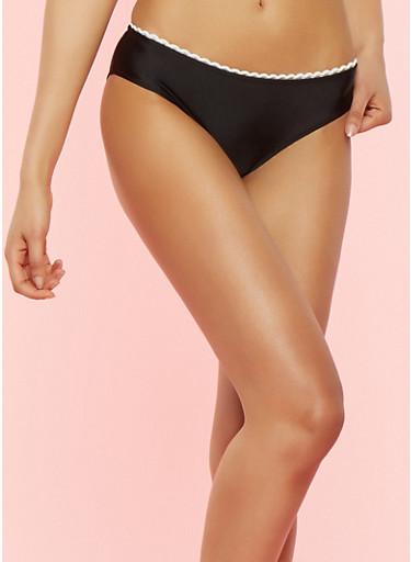 Contrast Trim Bikini Bottom,BLACK,large