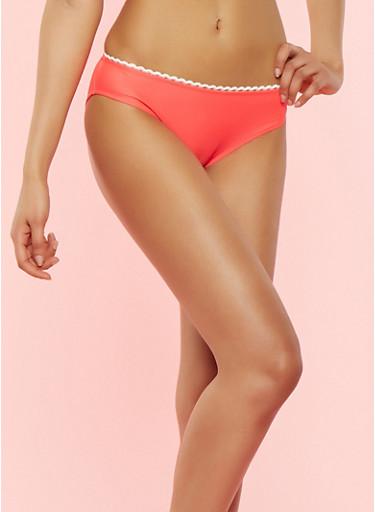 Contrast Trim Bikini Bottom,CORAL,large