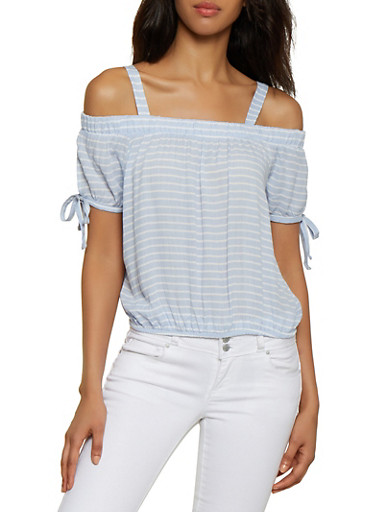 Striped Gauze Knit Cold Shoulder Top,CHAMBRAY,large