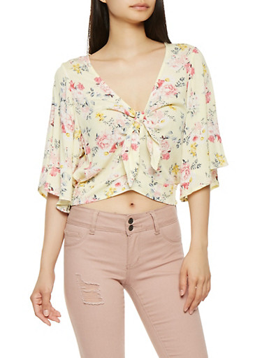 Floral Tie Front Crop Top,YELLOW,large