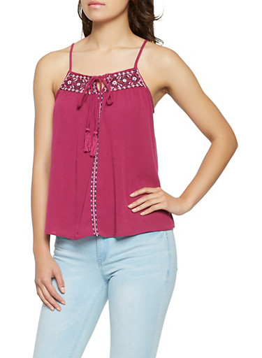 Embroidered Trim Tank Top,PURPLE,large