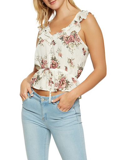 Floral Ruffle Top,IVORY,large