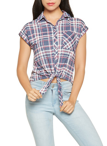 Plaid Tie Front Shirt,NAVY,large