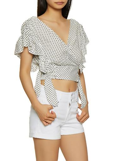 Polka Dot Tie Side Crop Top,WHT-BLK,large