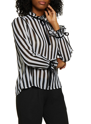 Tie Ruffle Detail Striped Top,BLACK,large