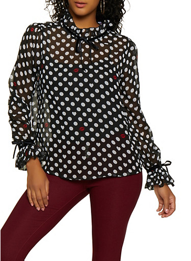 Tie Ruffle Detail Polka Dot Top,BLACK,large