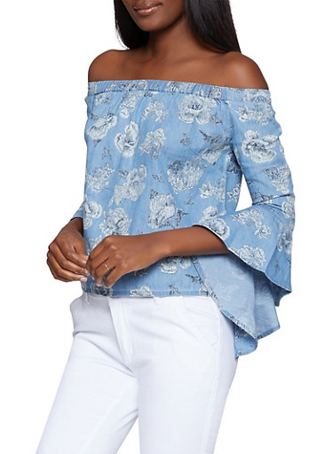 Rose Print Denim Off the Shoulder Top,LIGHT WASH,large