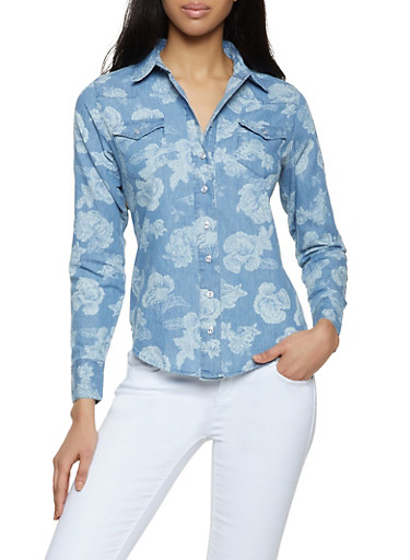 Floral Denim Button Front Shirt,LIGHT WASH,large