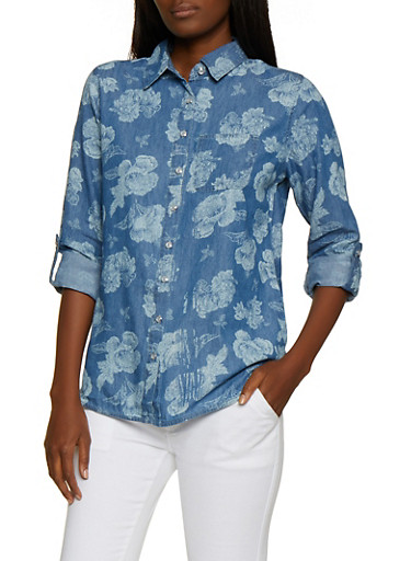 Floral Denim Shirt,LIGHT WASH,large