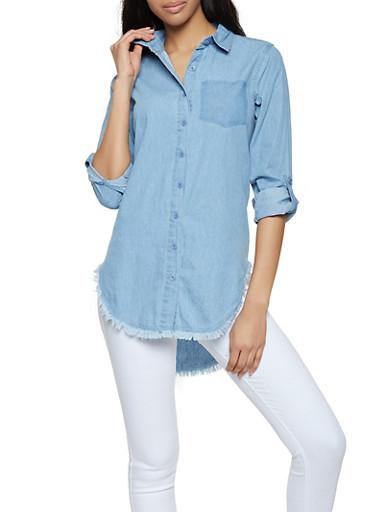 Faded Faux Pocket Print Denim Shirt,BLUE,large