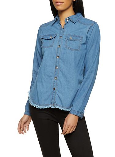 Frayed Button Front Denim Shirt,MEDIUM WASH,large