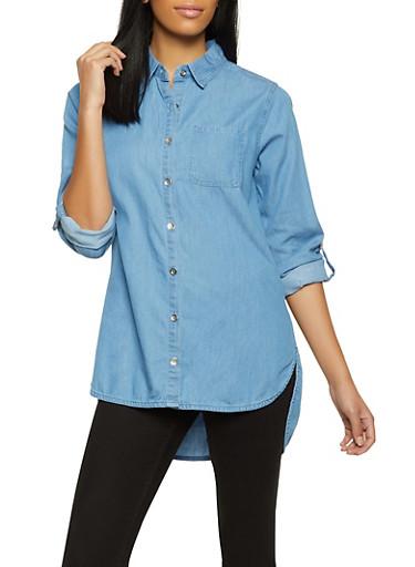 Button Front High Low Denim Shirt,MEDIUM WASH,large