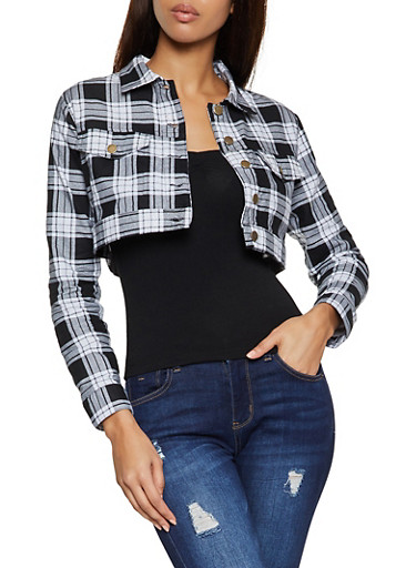 Plaid Cropped Shacket,BLACK/WHITE,large