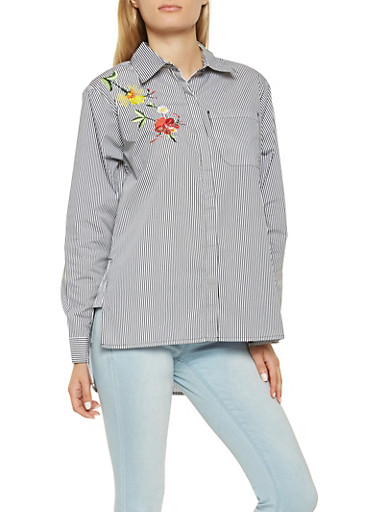 Embroidered Striped Button Front Shirt,BLACK/WHITE,large