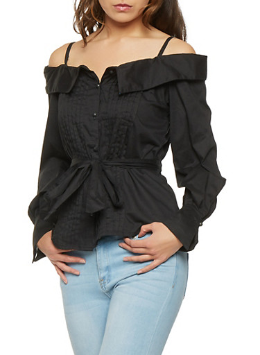 Pleated Off the Shoulder Button Front Top,BLACK,large