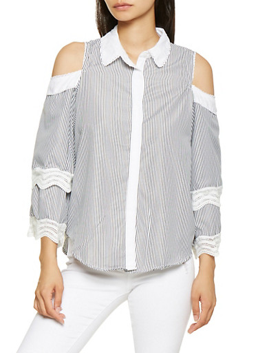 Striped Cold Shoulder Shirt,BLACK/WHITE,large