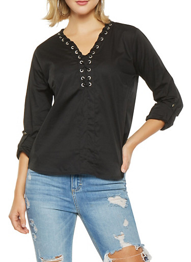 Lace Up Tabbed Sleeve Top,BLACK,large