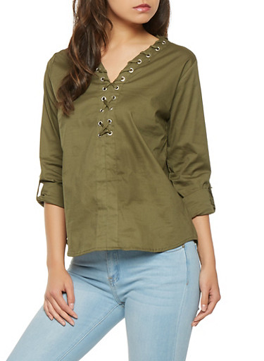Lace Up Tabbed Sleeve Top,GREEN,large