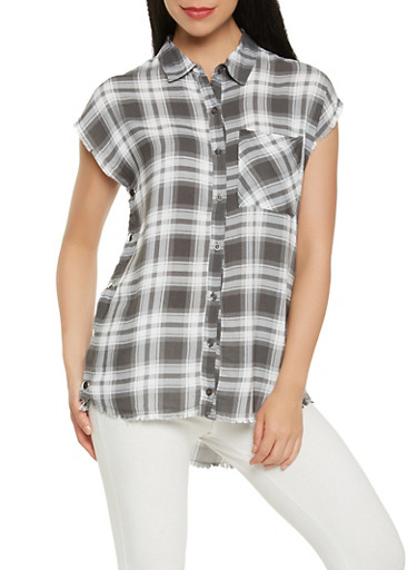 Frayed Plaid Flyaway Shirt,GRAY,large