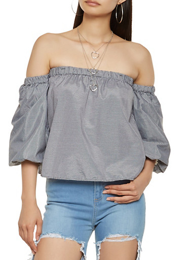 Gingham Bubble Sleeve Off the Shoulder Top,BLACK/WHITE,large