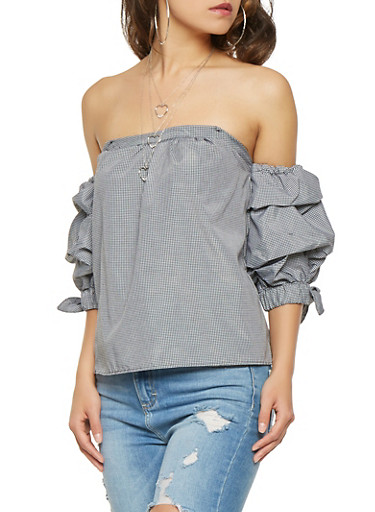 Gingham Print Bubble Sleeve Top,BLACK/WHITE,large
