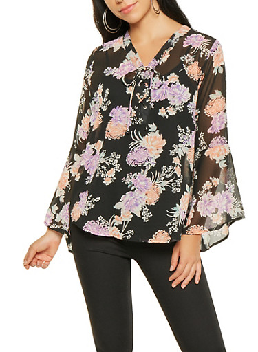 Floral Lace Up Blouse,BLACK,large