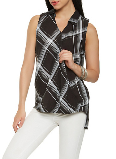Sleeveless Plaid Faux Wrap Top,BLACK,large