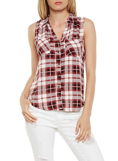 Sleeveless Plaid Button Front Shirt,BLACK,large