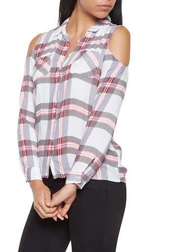 Plaid Cold Shoulder Shirt,WHITE,large