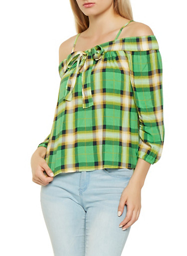 Plaid Off the Shoulder Top,LIME,large