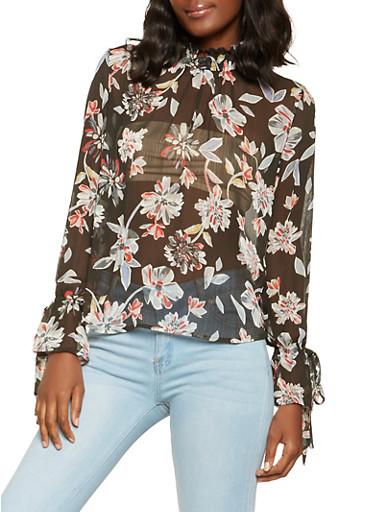 Floral Mock Neck Blouse,BLACK,large