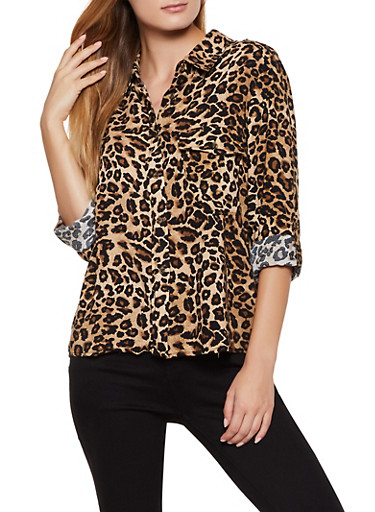 Pritned Button Front Shirt,BLACK,large