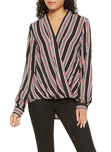 Striped High Low Faux Wrap Top,BLACK,large