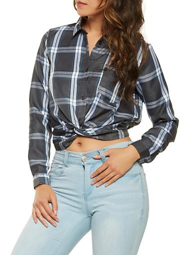 Plaid Twist Front Shirt,BLACK,large