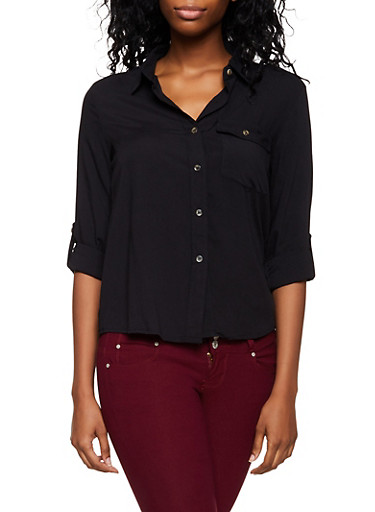 Single Pocket Button Front Shirt,BLACK,large