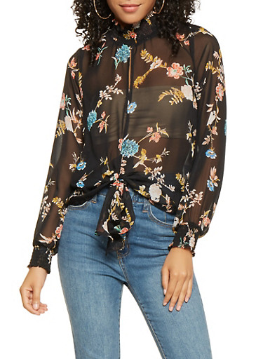 Printed Tie Front Blouse,BLACK,large