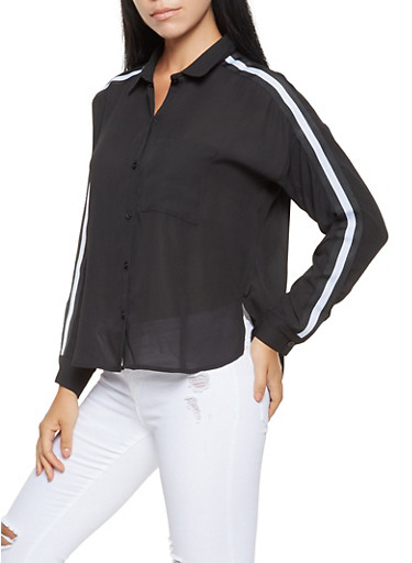Striped Ribbon Trim Shirt,BLACK,large