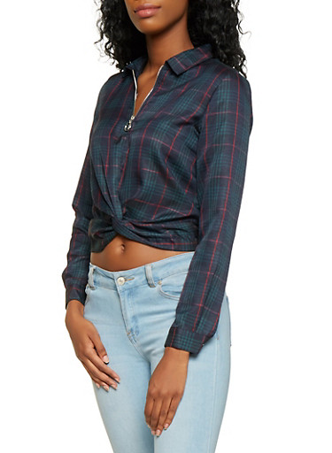 Plaid Twist Front Top,GREEN,large