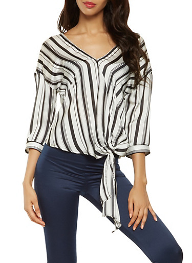 Striped Satin Tie Front Blouse,BLACK/WHITE,large