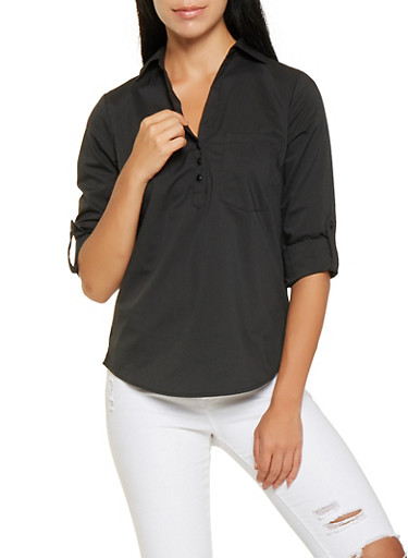 Tabbed Sleeve Shirt,BLACK,large