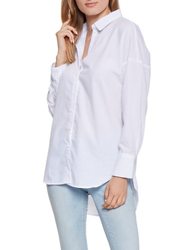 Button Front Shirt,WHITE,large