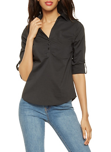 Tabbed Sleeve Button Front Shirt,BLACK,large