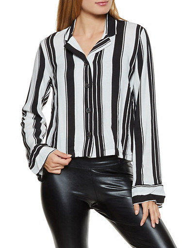 Vertical Stripe Button Front Shirt,IVORY,large