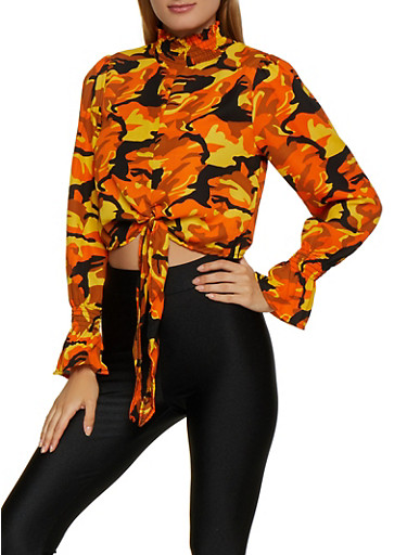 Mock Neck Printed Blouse,ORANGE,large