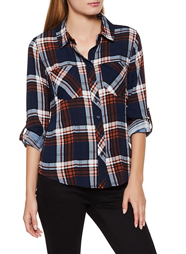 Plaid Tabbed Sleeve Button Front Shirt,NAVY,large