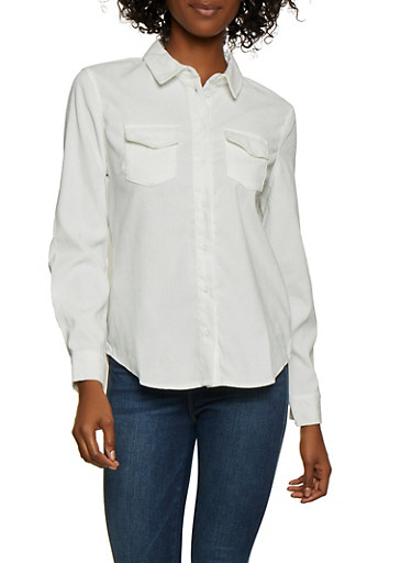 Corduroy Button Front Top,IVORY,large