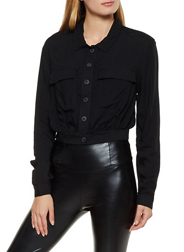 Two Pocket Button Front Crop Top,BLACK,large