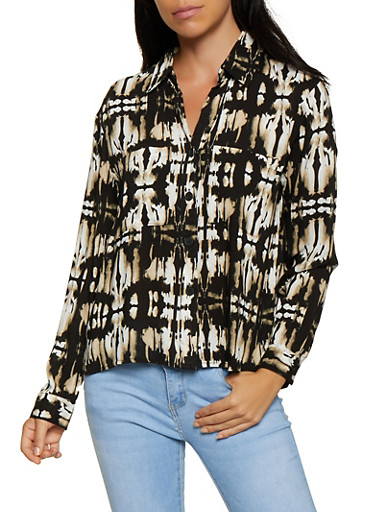 Tie Dye Button Front Shirt,BLACK,large