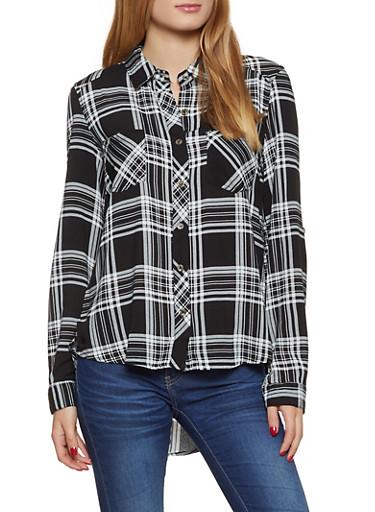 High Low Plaid Button Front Shirt,BLACK/WHITE,large